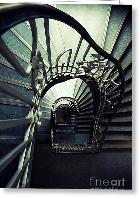 Green Spiral Staircase Greeting Card