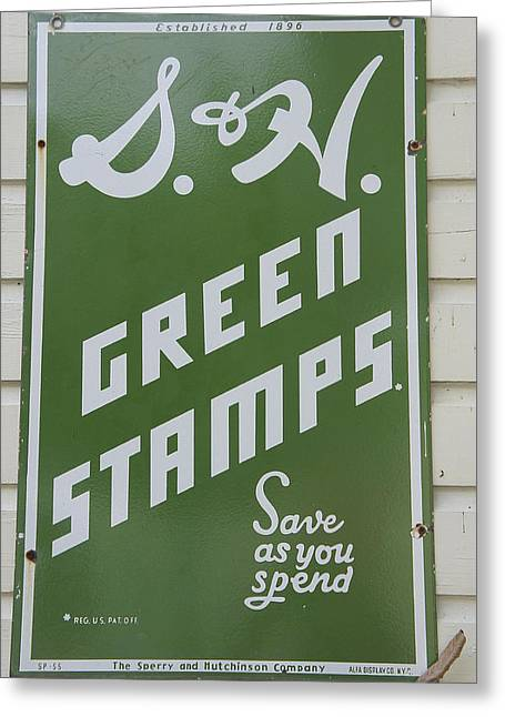 Green Stamps Greeting Card by Laurie Perry
