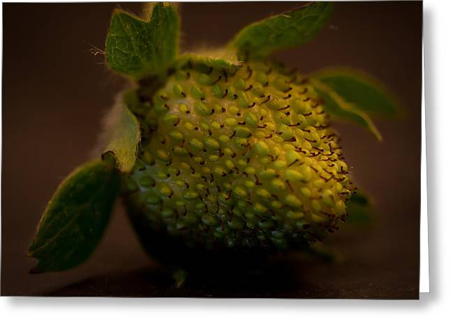 Green Strawberry Square Greeting Card by Patricia Bainter