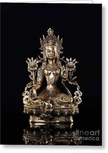 Green Tara Buddhist Goddess Statue Greeting Card