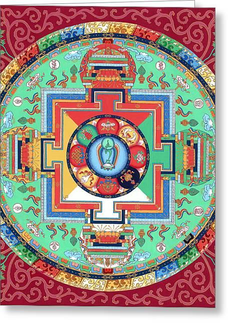 Green Tara Mandala Thangka Greeting Card