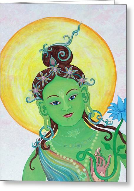 Green Tara Greeting Card by Sarah Grubb