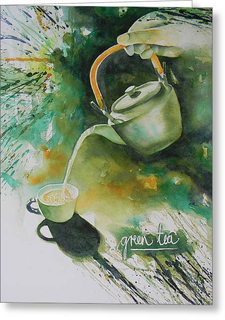 Green Tea Greeting Card by Adel Nemeth