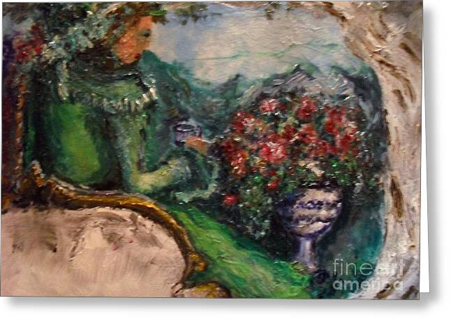 Greeting Card featuring the painting Green Tea In The Garden by Laurie Lundquist