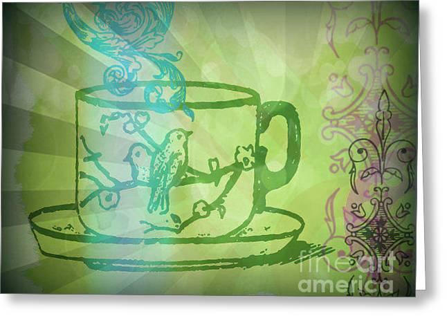 Green Tea  Greeting Card by Wendy Wiese