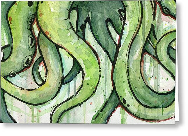 Green Tentacles Greeting Card by Olga Shvartsur