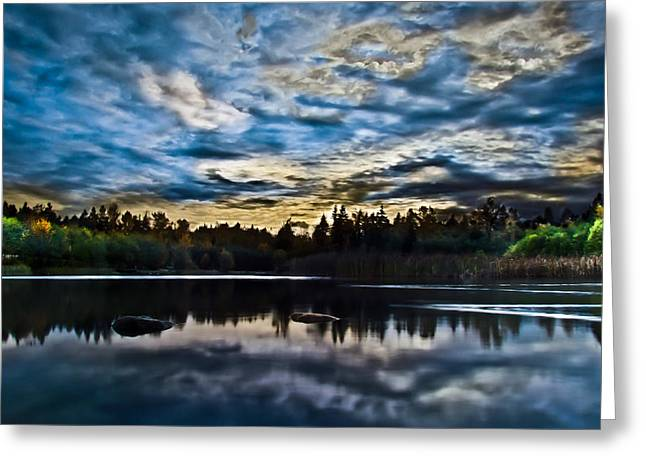 Green Timbers Park With Blue Sunset Greeting Card by Eva Kondzialkiewicz