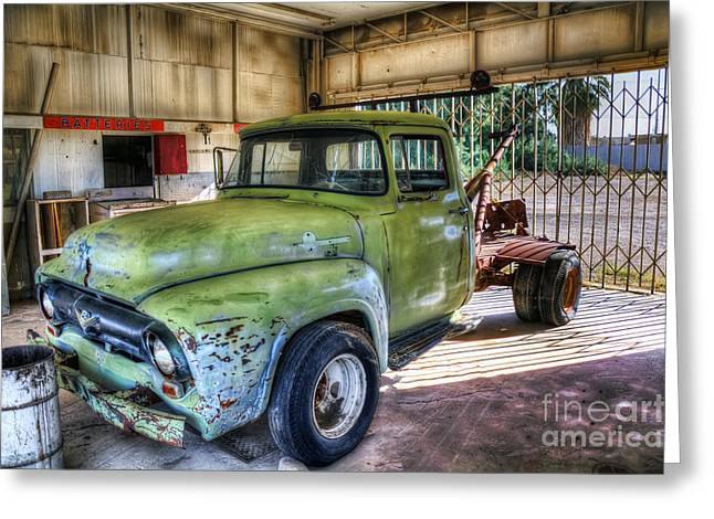 Green Tow Mater Greeting Card by Eddie Yerkish