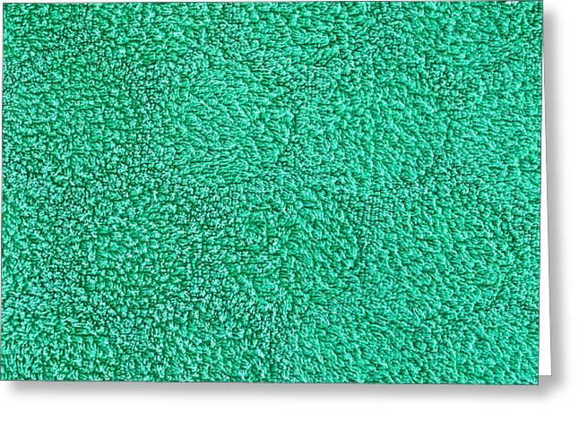 Green Towel Greeting Card by Tom Gowanlock