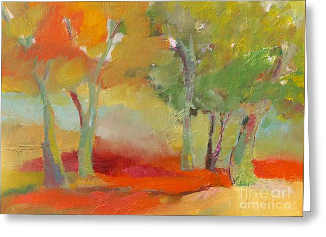 Green Trees Greeting Card by Michelle Abrams