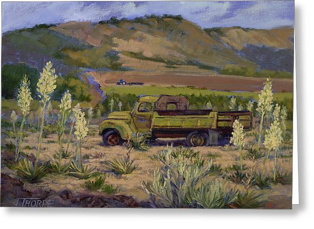 Green Truck- Blooming Yuccas Greeting Card