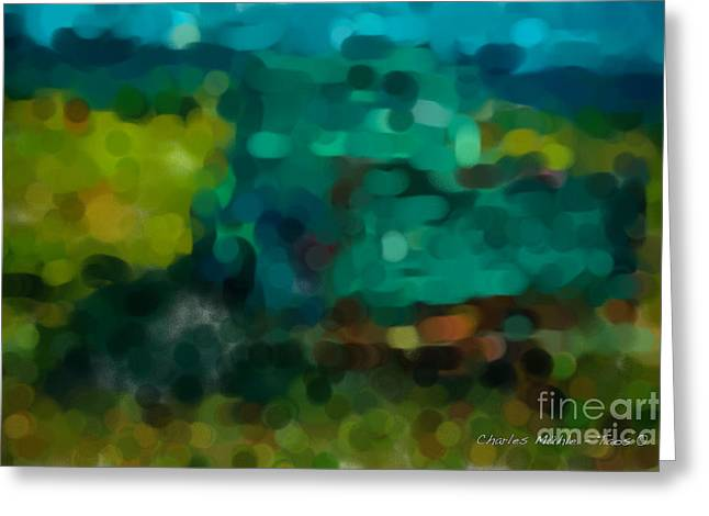 Green Truck In Abstract Greeting Card