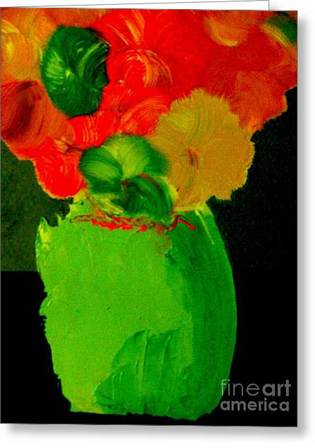 Greeting Card featuring the painting Green Vase 22 by Bill OConnor