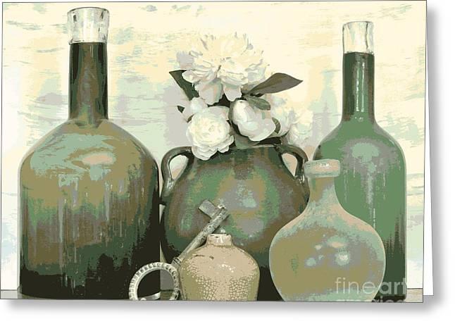Green Vases Still Life Greeting Card by Marsha Heiken