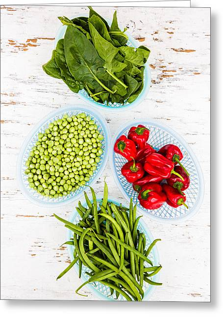 Green Vegetables And Red Chili Greeting Card