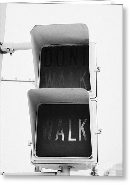 Green Walk Crosswalk Crossing Lights North America Greeting Card