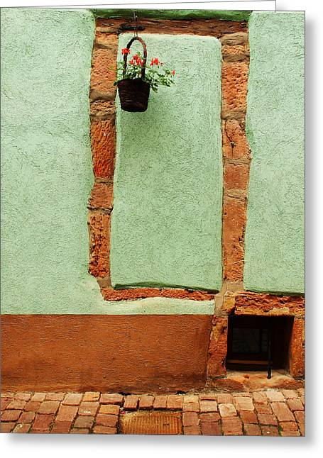 Green Wall And Hanging Basket In Alsace France Greeting Card
