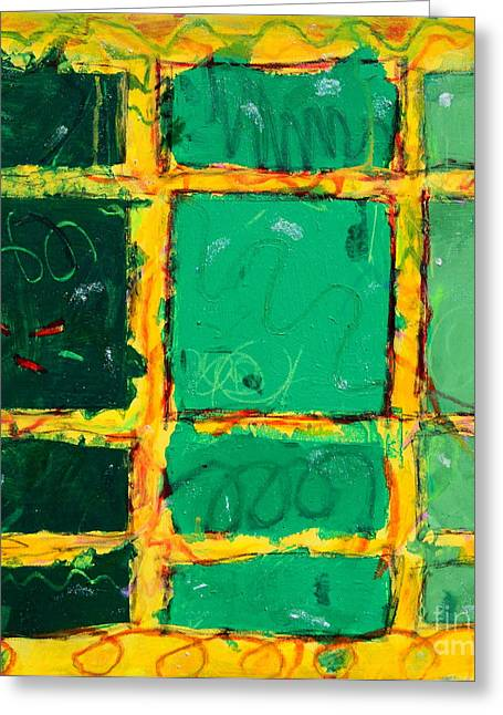 Green Windows Greeting Card by Kelly Athena