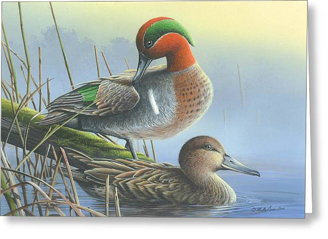 Green-winged Teal Ducks Greeting Card