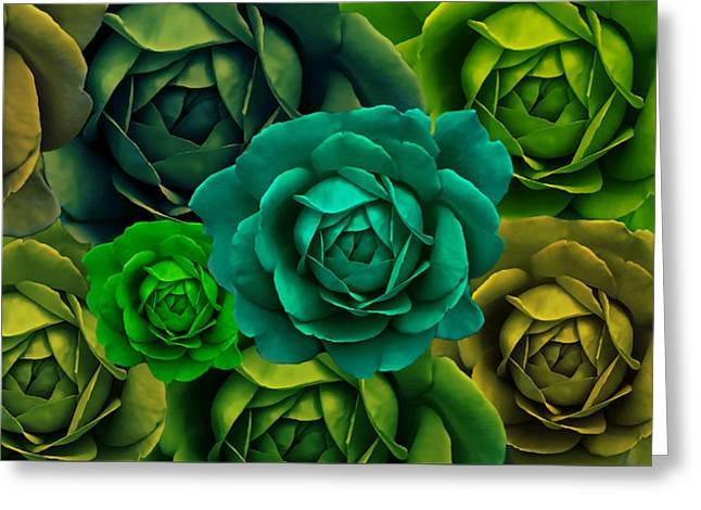 Green With Envy Rose Flower Abstract Greeting Card by Jennie Marie Schell