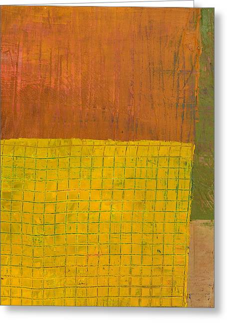 Green With Yellow Boxes Greeting Card