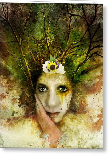 Green Woman Greeting Card by Michael  Volpicelli