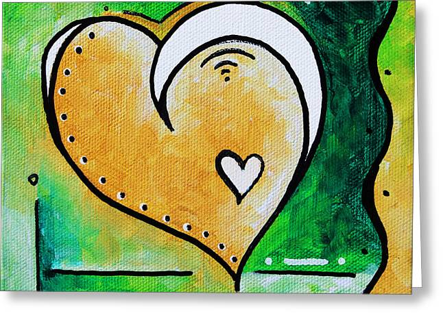 Green Yellow Heart Love Painting Pop Art Peace By Megan Duncanson Greeting Card by Megan Duncanson