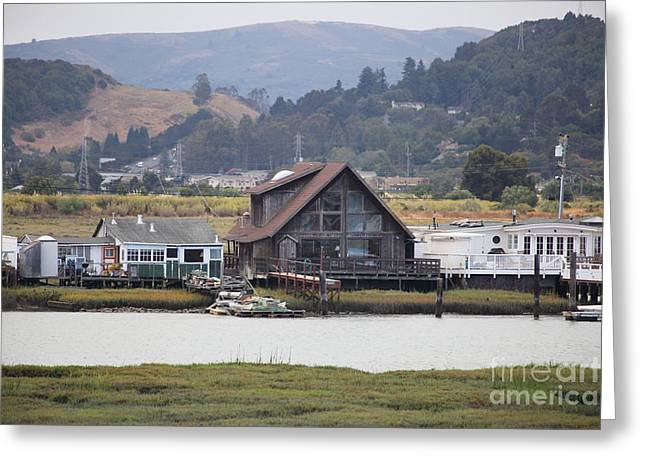 Greenbrae California Boathouses At The Base Of Mount Tamalpais 5d29347 Greeting Card