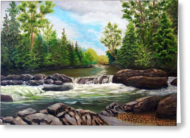 Greenbrier Cascades Greeting Card by Joan Swanson