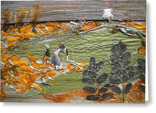 Greenery With Orange Field Greeting Card by Basant Soni