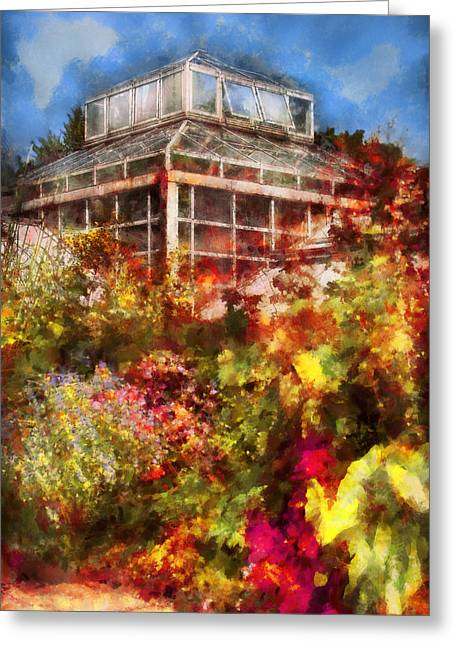 Greenhouse - The Greenhouse And The Garden Greeting Card by Mike Savad