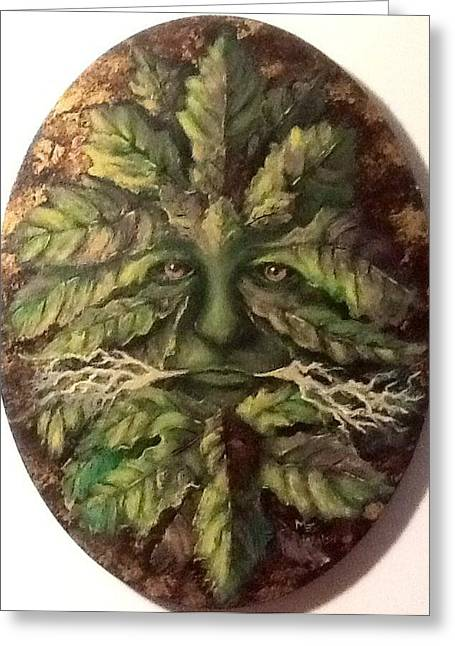 Greeting Card featuring the painting Greenman by Megan Walsh