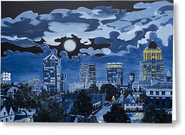 Greensboro Night Skyline Greeting Card