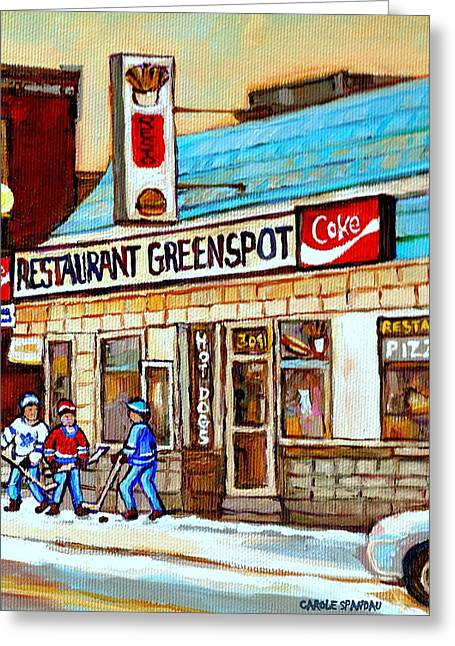 Greenspot Restaurant Notre Dame Street  South West Montreal Paintings Winter Hockey Scenes St. Henri Greeting Card by Carole Spandau