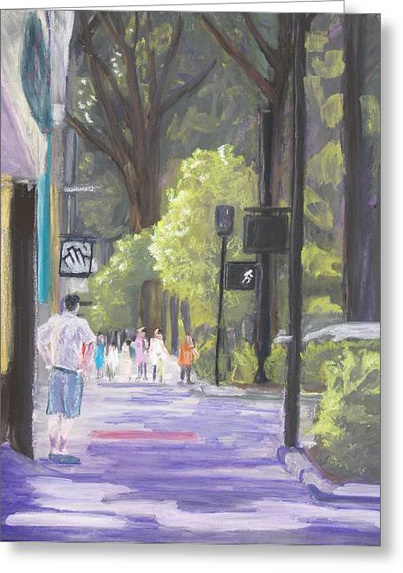 Greeting Card featuring the pastel Greenville Street Scene by Robert Decker