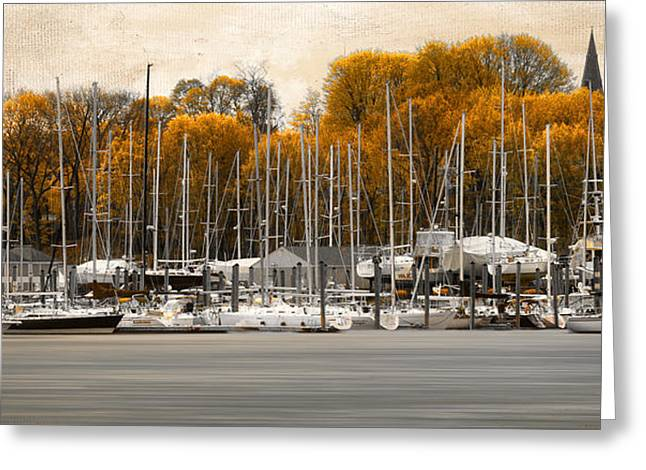 Greenwich Bay Harbor In Rhode Island Greeting Card by Lourry Legarde