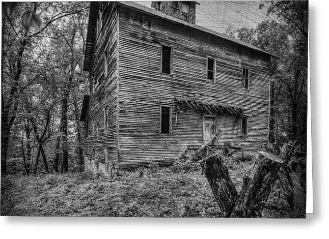 Greer Mill Black And White Greeting Card by Paul Freidlund