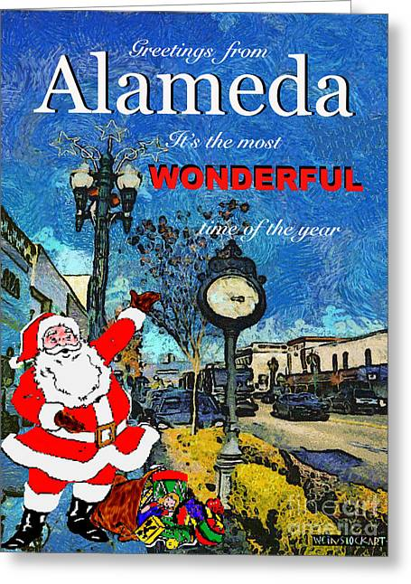 Alameda Christmas Greeting Greeting Card by Linda Weinstock