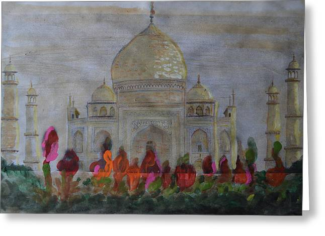 Greeting From The Taj Greeting Card by Vikram Singh