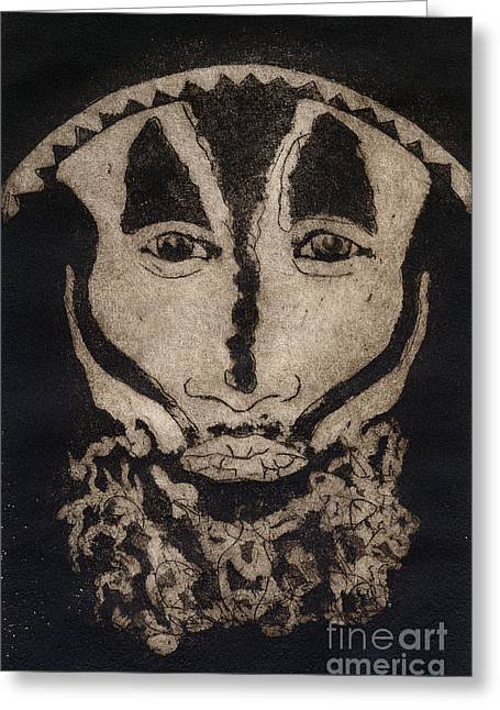 Greeting Card featuring the painting Greetings From New Guinea - Mask - Tribesmen - Tribesman - Tribal - Jefe - Chef De Tribu by Urft Valley Art