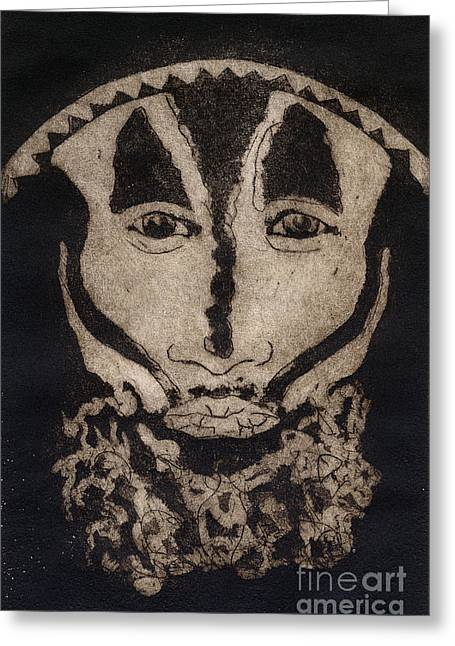 Greetings From New Guinea - Mask - Tribesmen - Tribesman - Tribal - Jefe - Chef De Tribu Greeting Card
