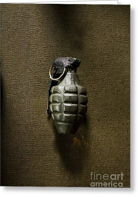Grenade Greeting Card by Margie Hurwich