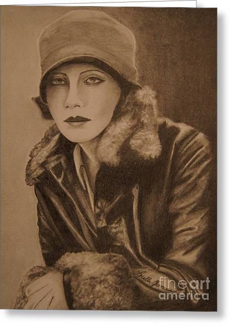 Greta Garbo Greeting Card by Lorelle Gromus