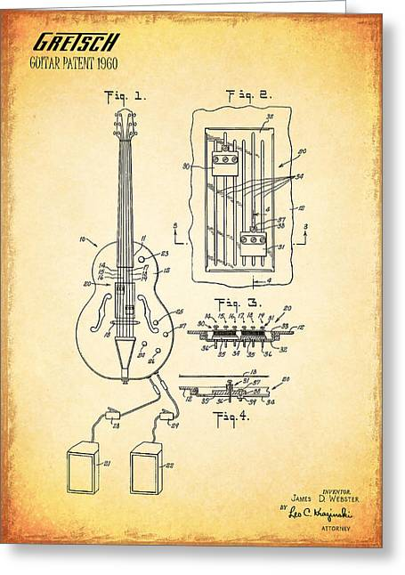Gretch Guitar Patent 1960 Greeting Card