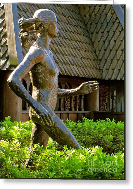 Greeting Card featuring the photograph Grete Waitz Sculpture by Joy Hardee