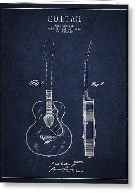 Gretsch Guitar Patent Drawing From 1941 - Blue Greeting Card by Aged Pixel