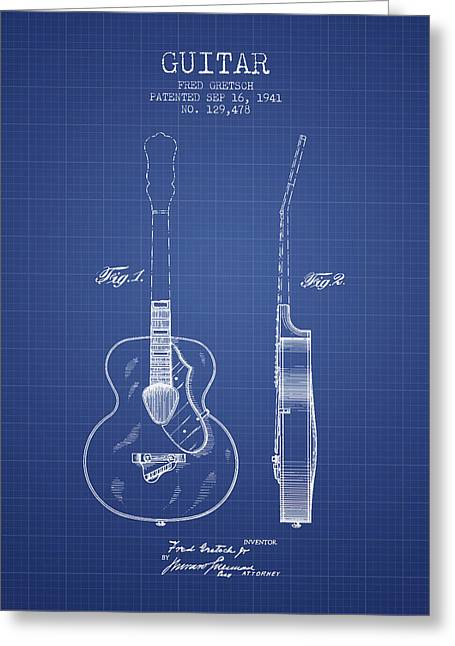 Gretsch Guitar Patent Drawing From 1941 - Blueprint Greeting Card by Aged Pixel