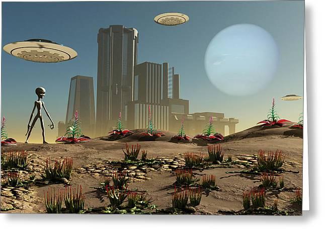 Grey Aliens On A Distant Homeworld Greeting Card by Mark Stevenson