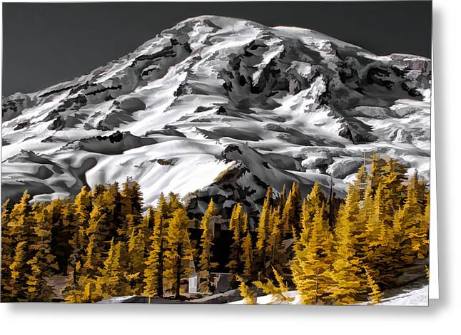 Grey And Gold Greeting Card by David Stine