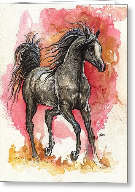 Grey Arabian Horse 2014 01 12 Greeting Card